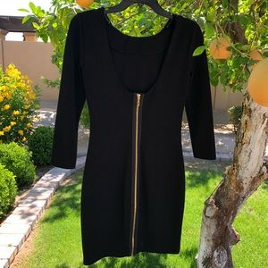 Juicy Couture scoop back gold zip up dress XS